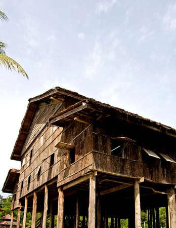 borneo:  longhouse in sarawak  (borneo ) Stock Photo