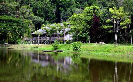 longhouse in sarawk ( borneo )