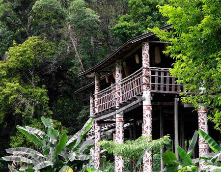 borneo:  longhouse in sarawak ( borneo ) Stock Photo