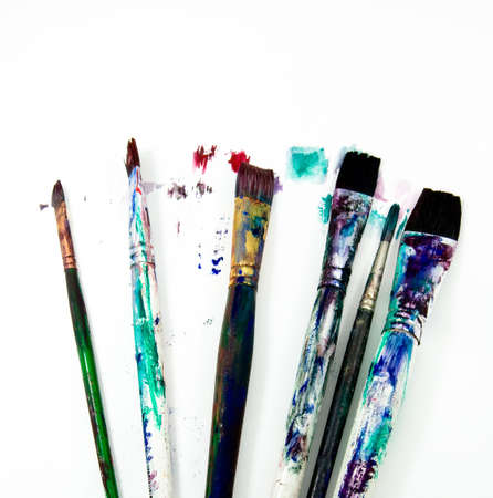 a selection of art paint brushes  photo