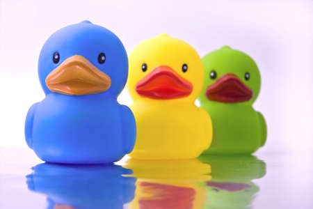 rubber: three rubber ducks with reflection Stock Photo