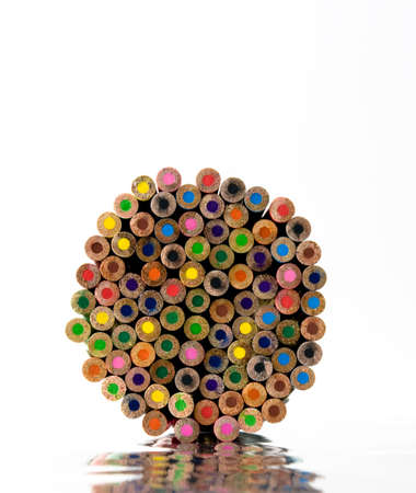 color pencils ends on white photo