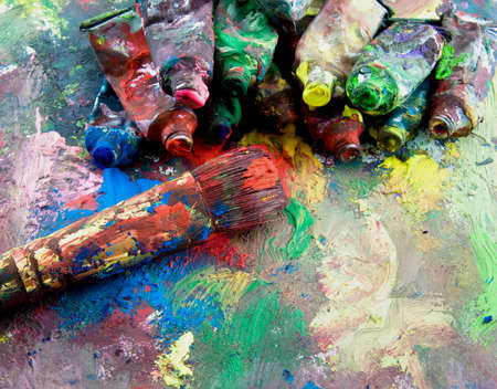 grunge paints and paint brush  photo