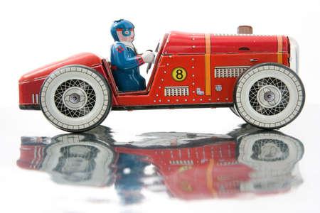 古いブリキのレースカー 写真素材