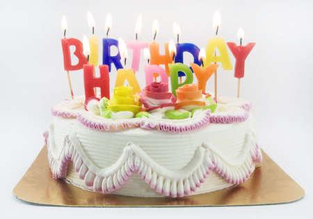 Torta de cumpleaños y candels Foto de archivo - 4457062