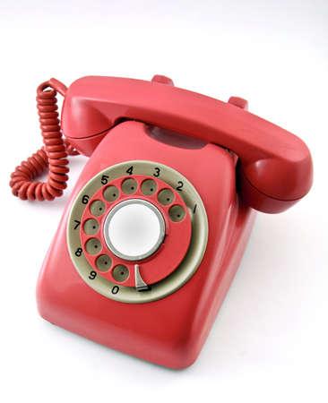 wijzerplaat: oude rode telefoon