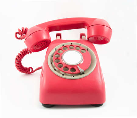 retro old red phone