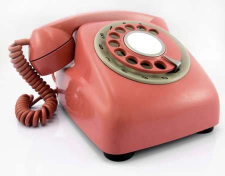 rotary dial telephone: retro phone Stock Photo
