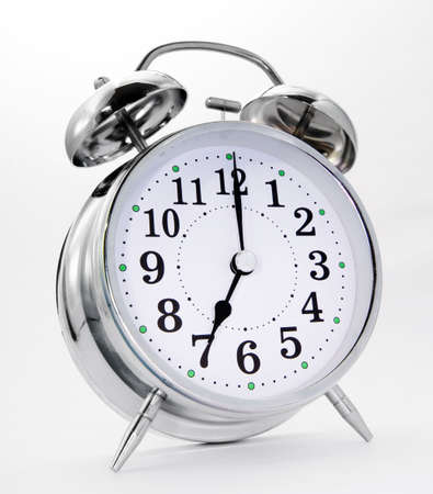 retro alarm clock on white  스톡 콘텐츠