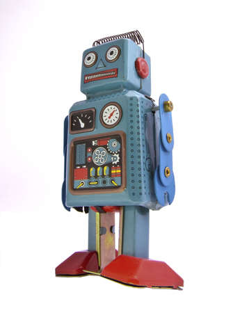 tin robot: retro robot on  white Stock Photo