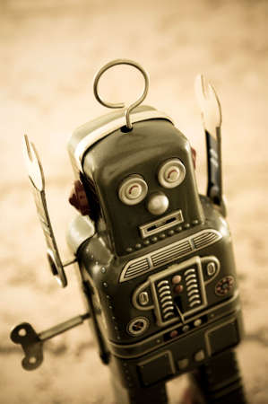 tin robot: retro robot in retro color Stock Photo