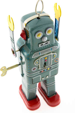 retro robot on white Imagens