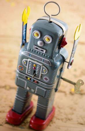 retro robot on gold photo