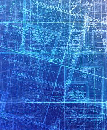 archecture plans  abstract blue Reklamní fotografie - 5132938