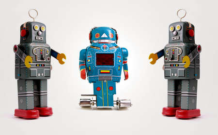 ツリーなレトロなロボット 写真素材