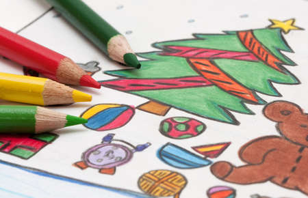 child s:  pencils and chrismass cards  Stock Photo