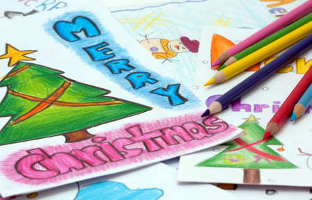 tarjetas de lápices y chrismass  Foto de archivo - 5630969