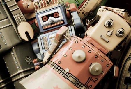 tin robot: a retro toy background