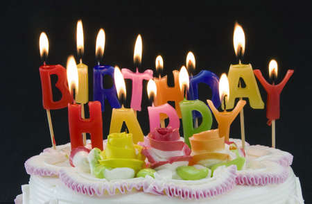 birthday cake and candels Banque d'images
