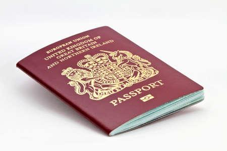 foreign nation: British biometric passport isolated on white