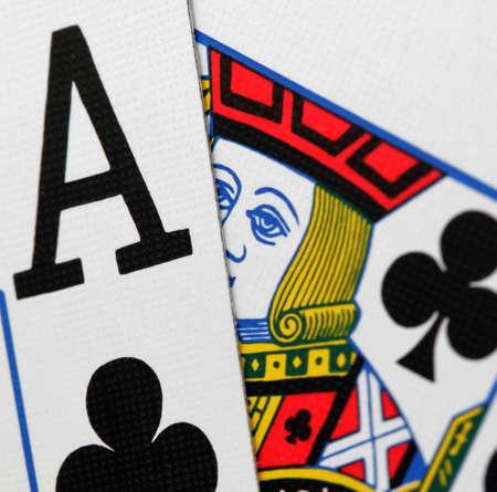 macro of  a blackjack hand  Editorial