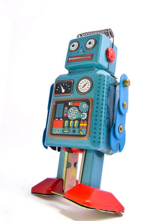 retro robot on  white Banque d'images