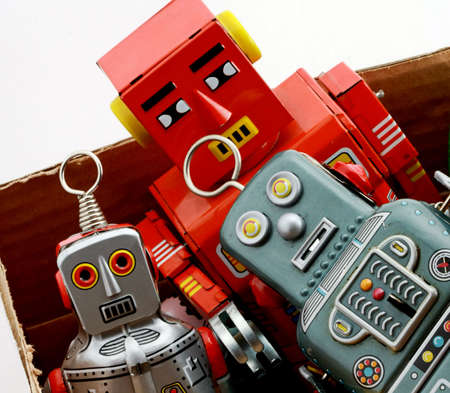 tin robot: old tin toys