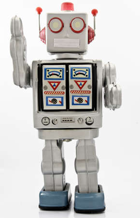 レトロなロボット、古いおもちゃ 写真素材