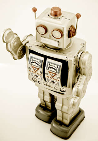 retro robot toy in retro color Stock Photo