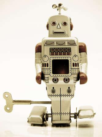 retro robot in retro color photo