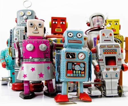retro robot toy group