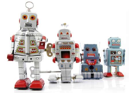 Retro robot groep Stockfoto