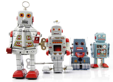 retro robot group Stock Photo - 7902654