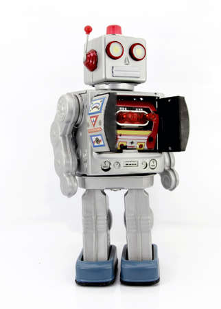 tin robot: retro robot toy with ray gun Stock Photo