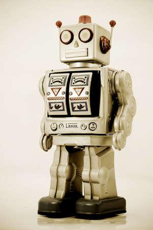 retro robot in retro color 스톡 콘텐츠