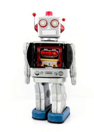 古いロボット玩具 写真素材