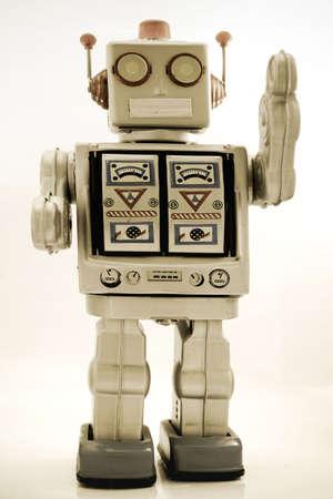 robot: Retro robota zabawki w szkÅ'a koloru Zdjęcie Seryjne