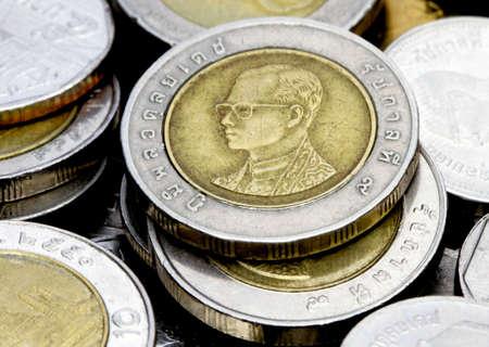 macro image of ten bhat coins