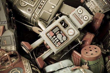 tin robot: old toys in a box