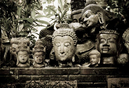 buddah: a colection of old Buddah heads  Stock Photo