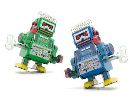 tin robot: two robot toys Stock Photo