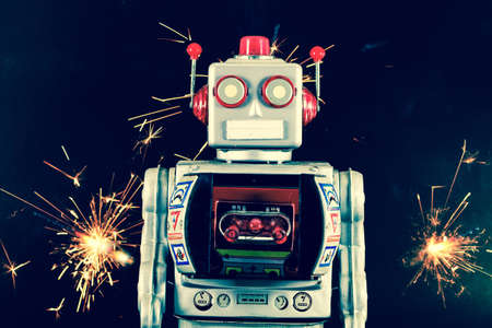 retro robot: old robot and sparkes
