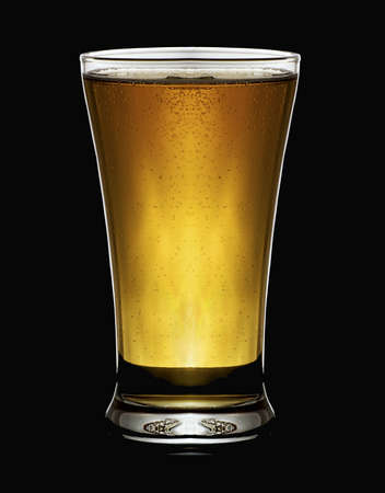 pint glass:  a cool glas of beer  with a balck background