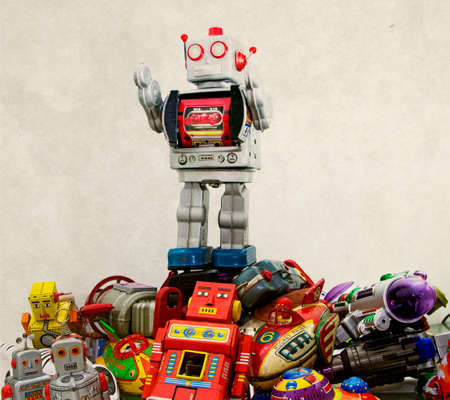 toy box: big robot on top