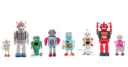 a line of retro robots 스톡 콘텐츠
