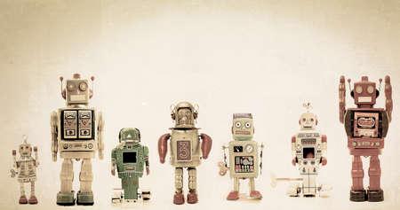 a line of retro robots Imagens