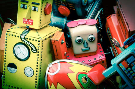 old toy box of tin toys 스톡 콘텐츠