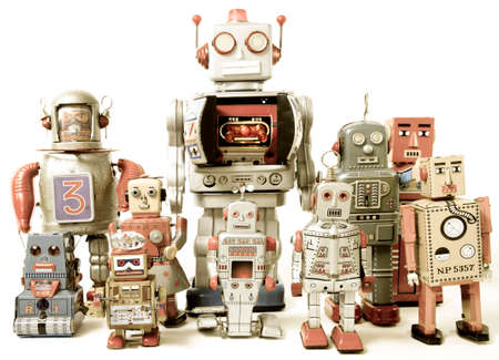 tin robot: team of Robot toys