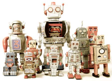 team van Robot speelgoed Stockfoto