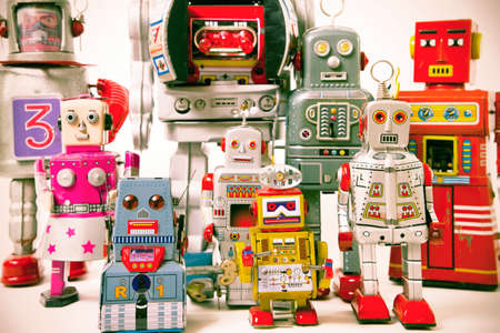 business relationship: a team of robot toys